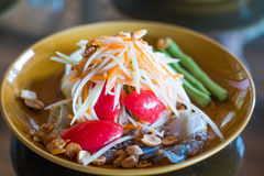 Green papaya salad with raw blue Crab -original thai. Som tam pu,green papaya salad with raw blue Crab -original thai food Royalty Free Stock Images