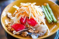 Green papaya salad with raw blue Crab -original thai Royalty Free Stock Image