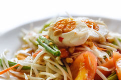 Green papaya salad with salted egg Stock Image