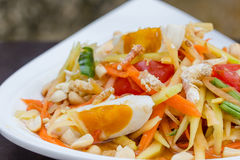 Green papaya salad with salted egg Royalty Free Stock Photos