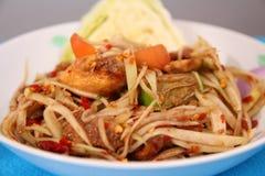 Green papaya salad. Som Tam is spicy green papaya salad Thai food Royalty Free Stock Image