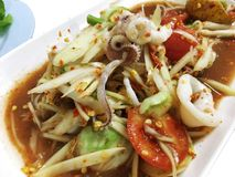 Green Papaya Salad Som Tam with Squid. Green Papaya Salad Som Tamwith Squid Stock Photos