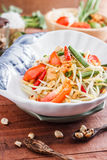 Green Papaya Salad  SOM TAM. Thai papaya salad also known as Som Tum from Thailand royalty free stock image