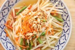 Green papaya salad or Som tam , Thai food. Green papaya salad or Som tam in Thai street food stock image