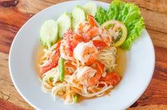 Green papaya salad (Som Tum). With shrimp stock photo