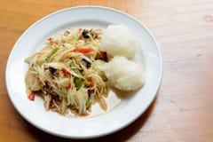 Green papaya salad (Som Tum) with sticky rice Stock Photography
