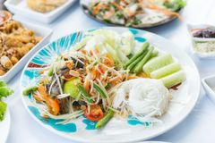 Green Papaya Salad or Som tum Thai Royalty Free Stock Photos