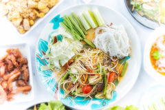 Green Papaya Salad or Som tum Thai Stock Image