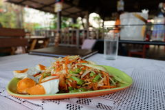 Green papaya salad (Som tum Thai). Green papaya salad or somtum local food of Thailand Royalty Free Stock Photo