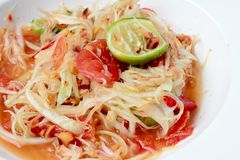Green Papaya Salad Som tum Thai on table. Thai cuisine spicy delicious. Stock Images