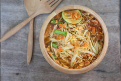 Green Papaya Salad Som tum Thai on table Stock Photo
