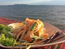 Green Papaya Salad or Som Tum in Thailand. The most popular dish in Thailand and is A must try dish if you visit Thailand Stock Photography