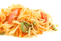 Green papaya salad  spicy isolated. On white background Royalty Free Stock Photography