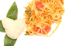 Green papaya salad  spicy isolated. On white background Stock Image