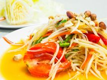 Green papaya salad. Is a spicy salad made from shredded unripe papaya. Probably originating from ethnic Lao peoples living in present-day Thailand, it is also Royalty Free Stock Image
