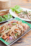 Green Papaya Salad ,Spicy minced meat salad Royalty Free Stock Images