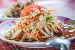 Green papaya salad. spicy thai food. Royalty Free Stock Photos