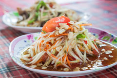 Green papaya salad. spicy thai food. Royalty Free Stock Images
