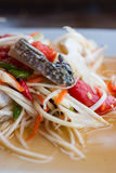 Green papaya salad on the table Stock Images