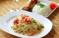 Green papaya salad thai cuisine Royalty Free Stock Photography