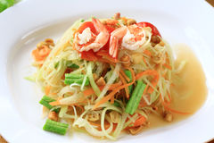 Green papaya salad thai cuisine Royalty Free Stock Photo