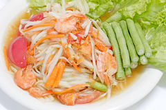 Green papaya salad thai cuisine spicy delicious Royalty Free Stock Image