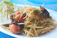Green papaya salad Thai cuisine spicy delicious Stock Image