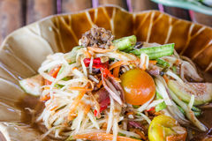 Green papaya salad Thai cuisine spicy delicious Stock Images