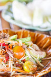 Green papaya salad Thai cuisine spicy delicious Royalty Free Stock Images