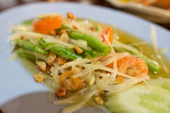 Green papaya salad Thai cuisine spicy delicious SomTam.  Stock Image