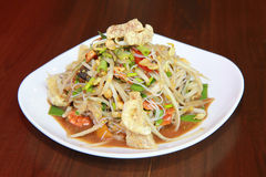 Green papaya salad thai food.  royalty free stock image