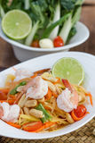 Green papaya salad thai food. Thai cuisine (traditional and modern thai food Royalty Free Stock Images