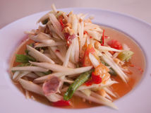 Green papaya salad thai food. Papaya Salad, Thai call Som tum the most famous thai salad combination of green papaya, green beans, carrots, garlic, fresh chili royalty free stock image