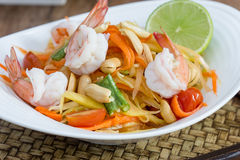 Green papaya salad thai food. Thai cuisine (traditional and modern thai food Royalty Free Stock Photography
