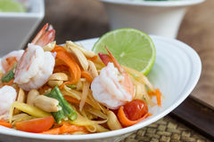 Green papaya salad thai food. Thai cuisine (traditional and modern thai food royalty free stock image