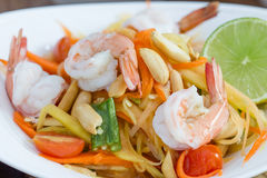 Green papaya salad thai food Stock Images