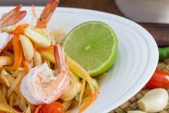 Green papaya salad thai food. Thai cuisine (traditional and modern thai food stock image