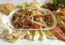 Green papaya salad. Thai food. What we called `Somtum` in Thai royalty free stock images