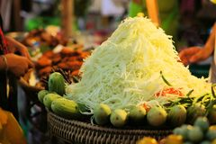 Green papaya salad, Thai food. Spicy Green papaya salad Som Tam, Thai food Royalty Free Stock Images