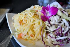 Green papaya salad, Thai food. Spicy Green papaya salad Som Tam, Thai food Stock Photography