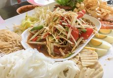 Green papaya salad. Thai food, `Somtum` in Thai. Green papaya salad. Thai food, what we called `Somtum` in Thai royalty free stock images