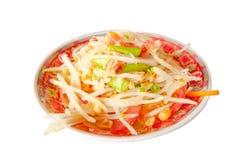Green papaya salad Thai Food. On white background Stock Image