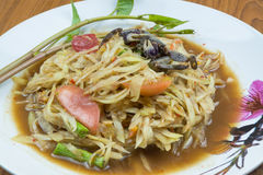 Green papaya salad. Thailand national dish salad Royalty Free Stock Photography
