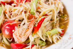 Green papaya salad & x28;Som Tum& x29; with shrimp,Thai food. Royalty Free Stock Photography