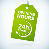 Green paper 24h nonstop opening hours tag. Green paper 24h nonstop opening hours  tag.  from background. layered Stock Photos