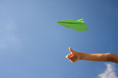 Green paper airplane Royalty Free Stock Image