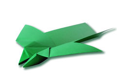 Green paper airplane isolated Stock Photography