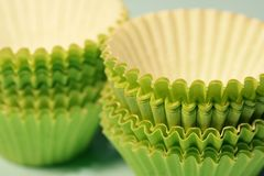 Green paper baking cups Royalty Free Stock Photos