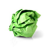 Green Paper Ball Isolated on White Background. Royalty Free Stock Image