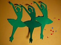 Green Paper Ballerina`s Media Art stock photography